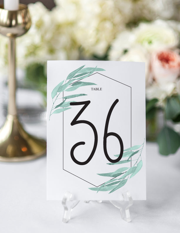 Modern Geometric Greenery Table Numbers