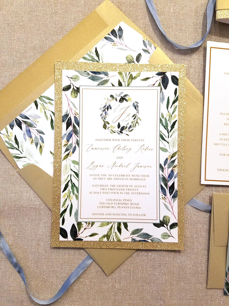 Greenery and Gold Wreath Monogram Wedding Invitation