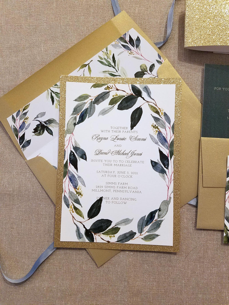 Dark Greenery and Gold Elegant Wedding Invitation