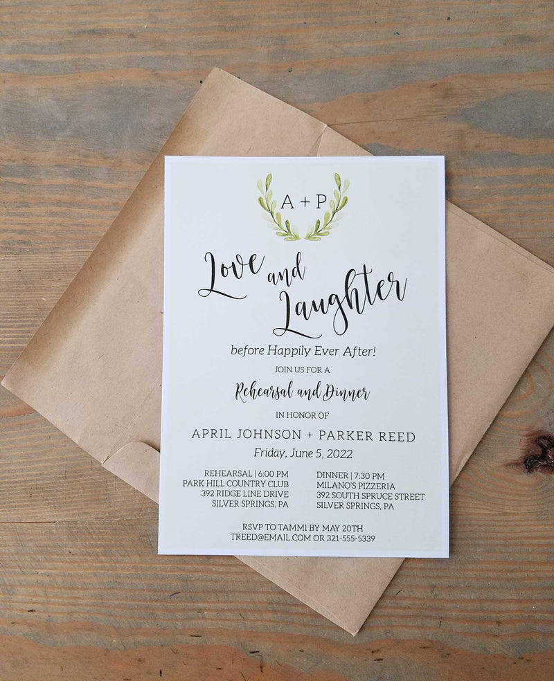 Greenery Monogram Wedding Rehearsal Dinner Invitation