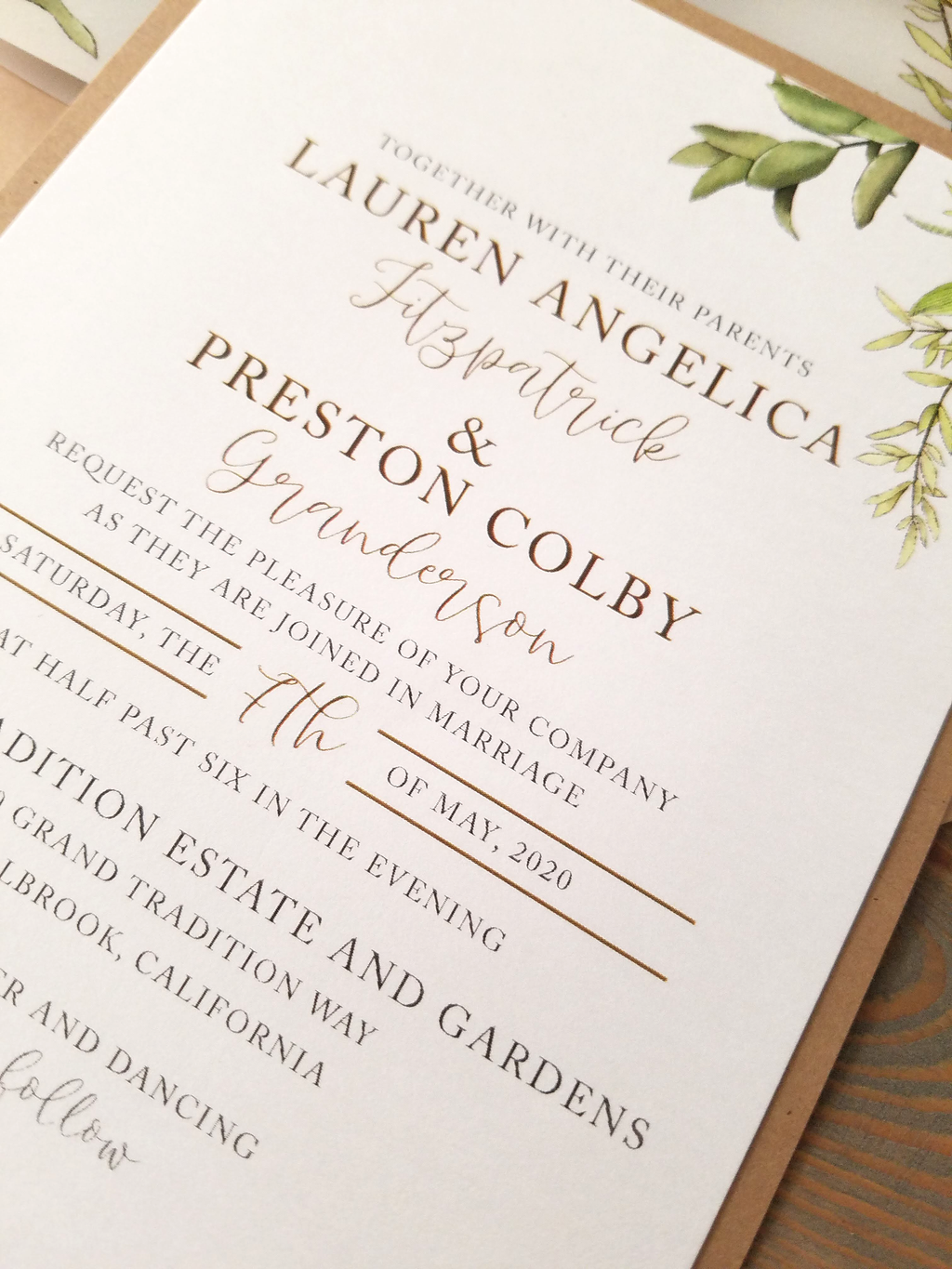 Neutral Greenery Vellum Wrap Wedding Invitation