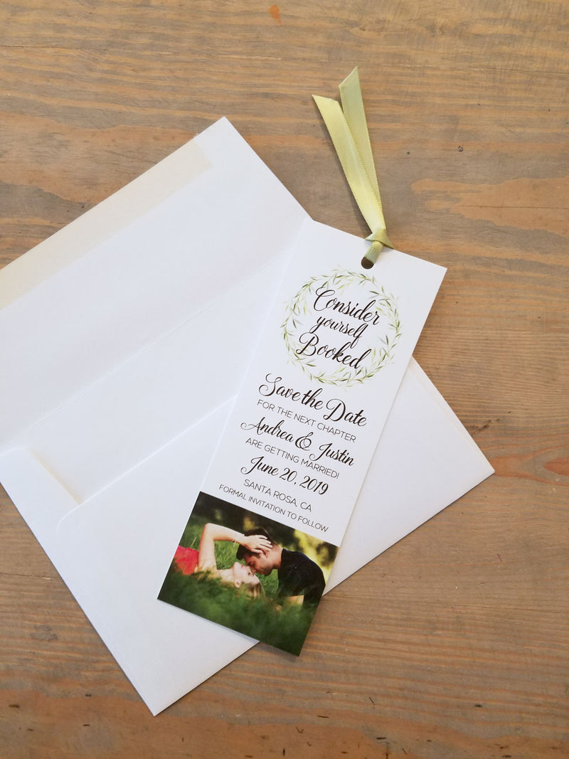 Greenery Wreath Bookmark Save the Date