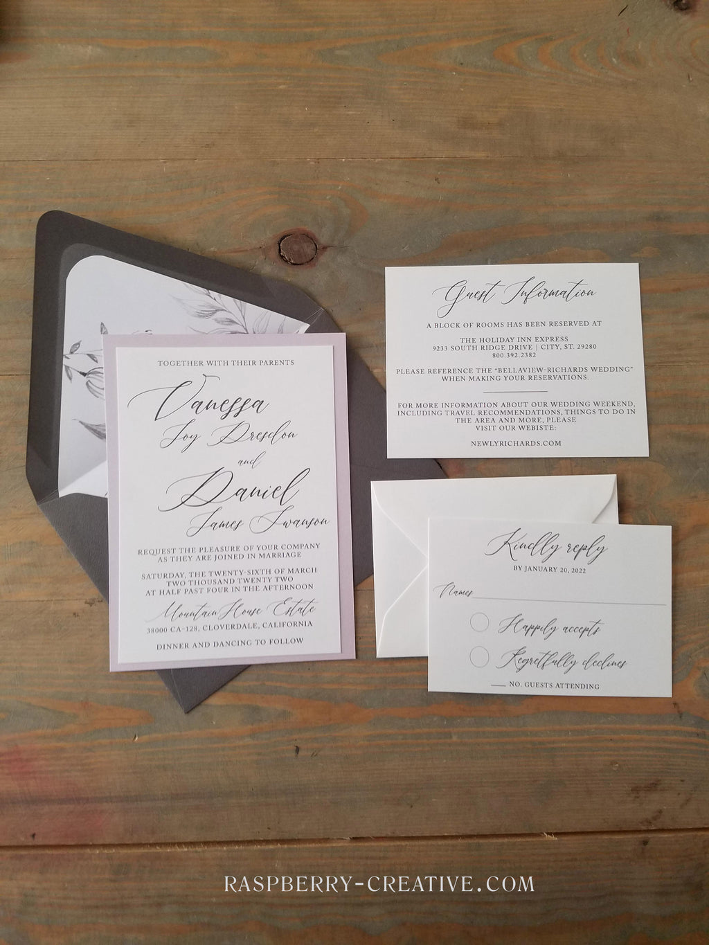 Gray and Dusty Pink Vellum Wedding Invitation Suite