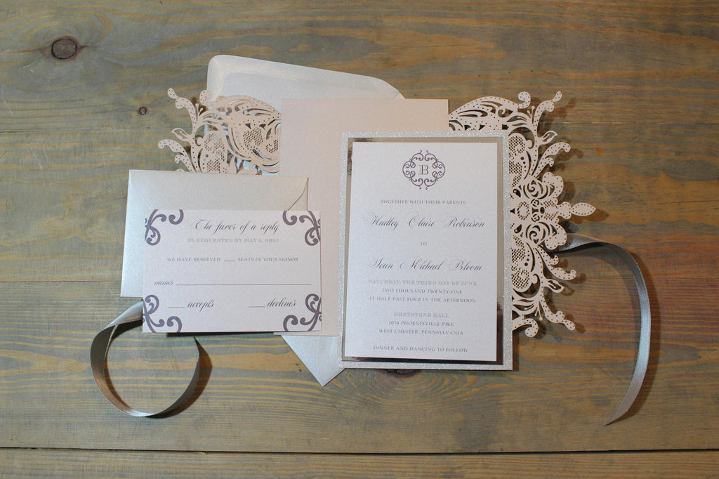 Blush and Silver Laser Cut Wedding Invitation Suite