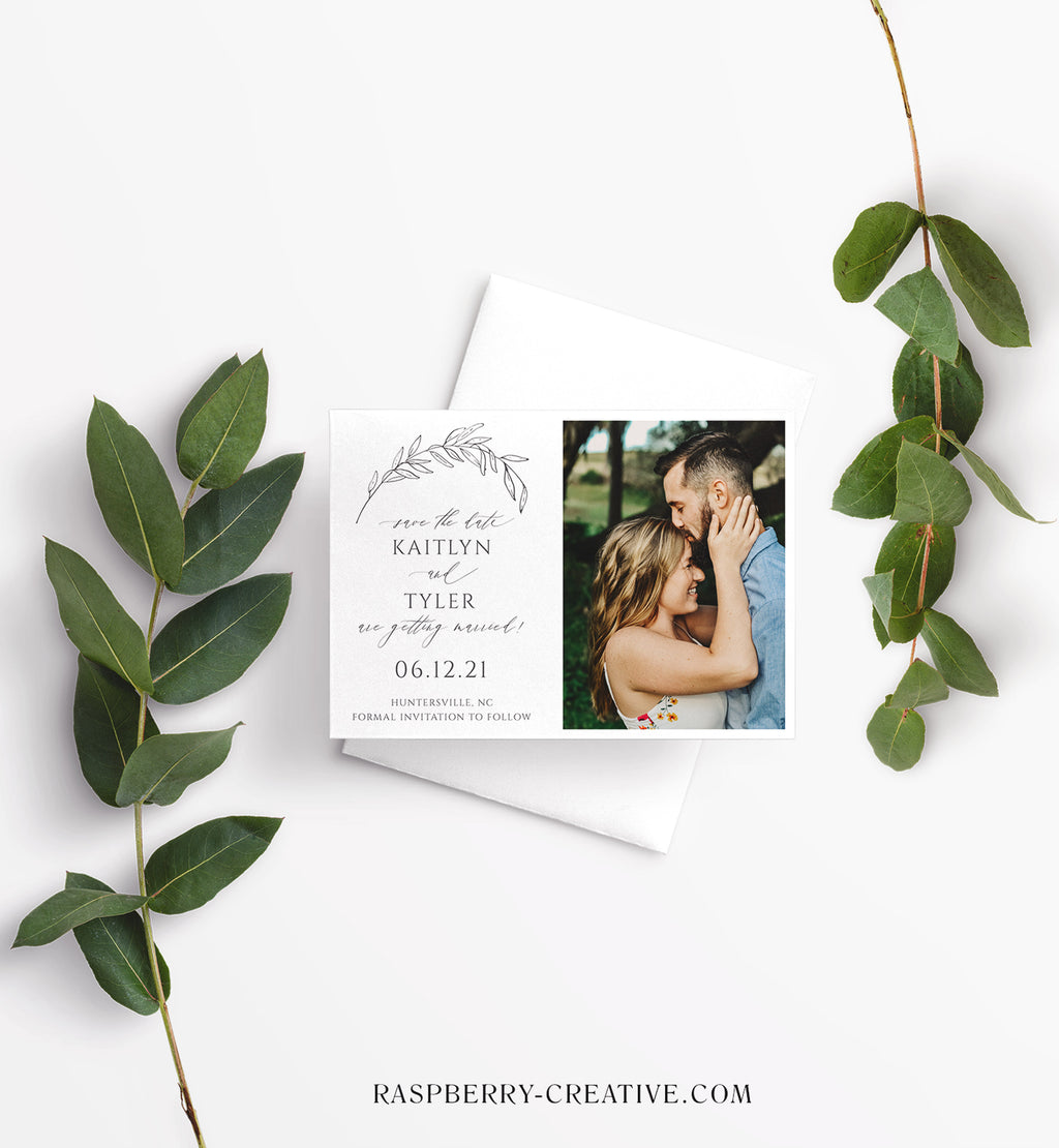 Hand Drawn Branch Photo Save the Date Card