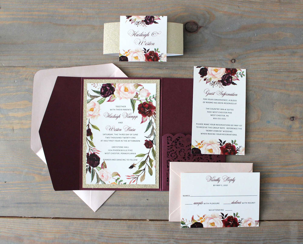 Burgundy and Rose Laser Cut Pocket Wedding Invitation - The Harleigh