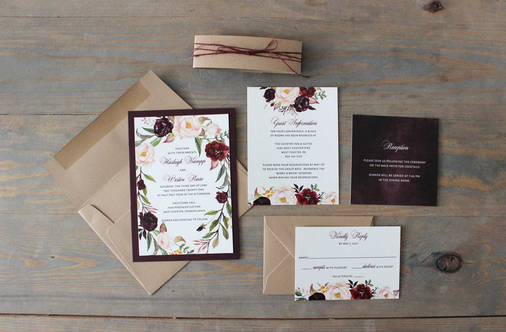 Burgundy and Harvest Country Wedding Invitation - The Harleigh