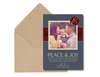 Peace & Joy Blue and Burgundy Christmas Photo Card