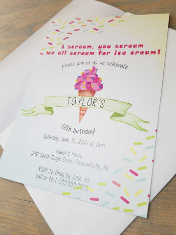 Ice Cream Theme Birthday Party Invitation