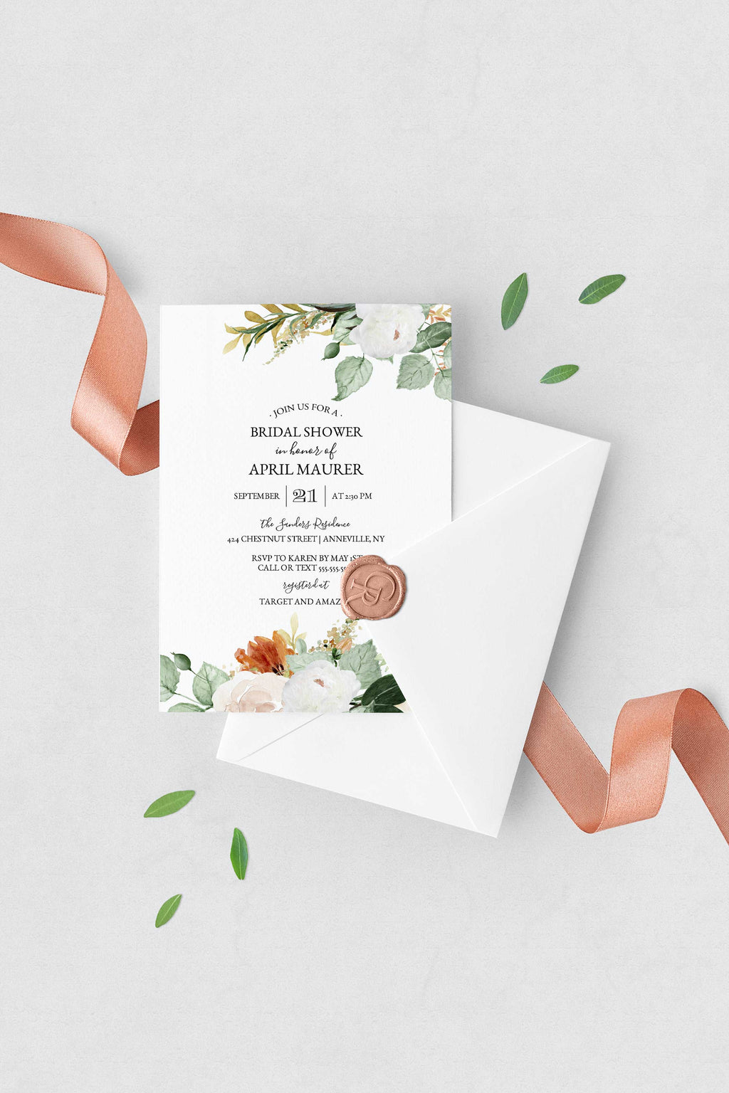 Indian Summer Bridal Shower Invitation