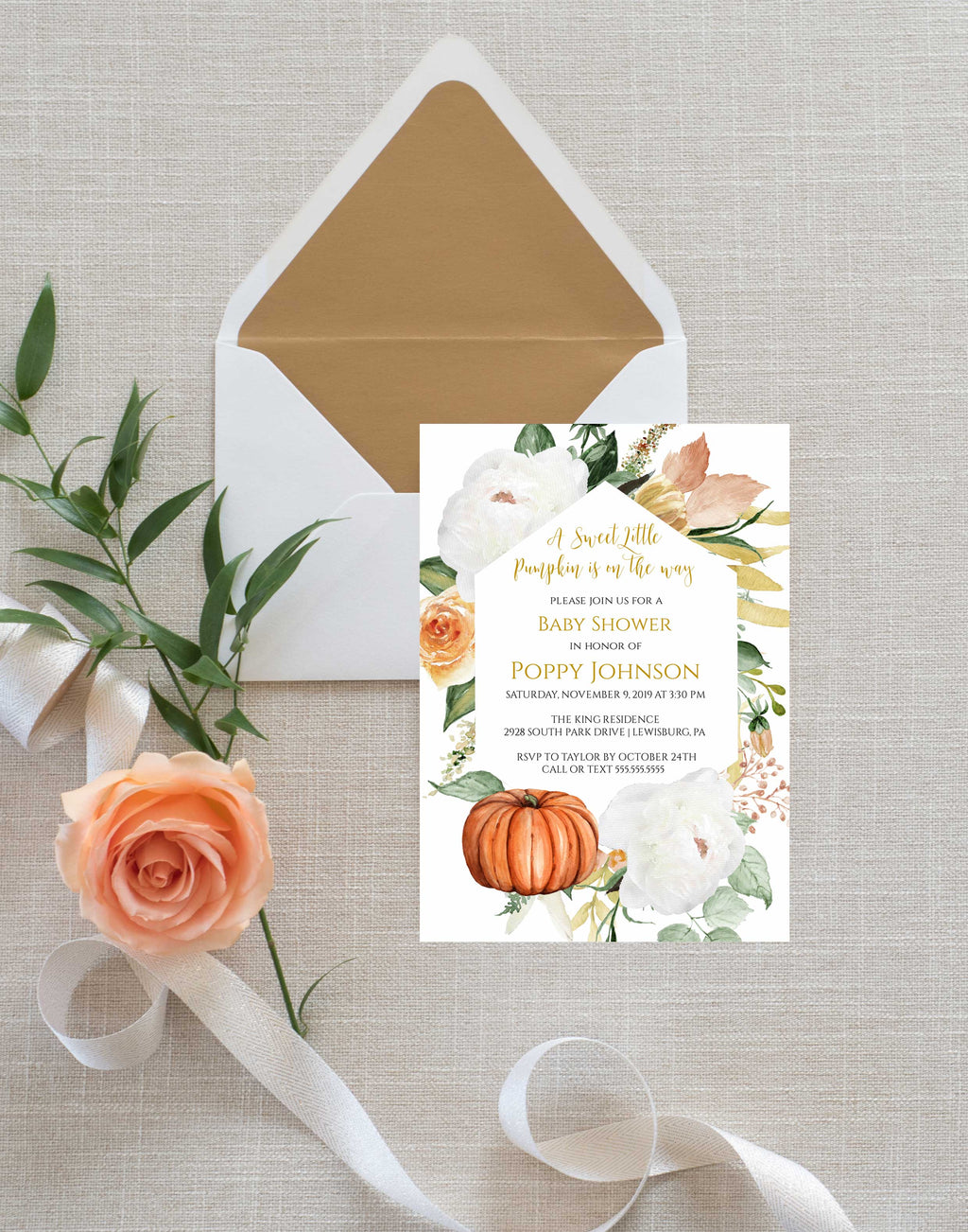 Indian Summer Flowers Pumpkin Fall Baby Shower Invitation