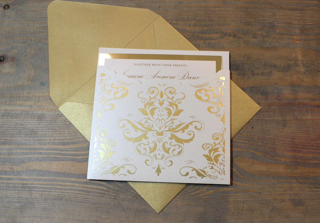 Metallic Gold Square Wedding Invitation Suite