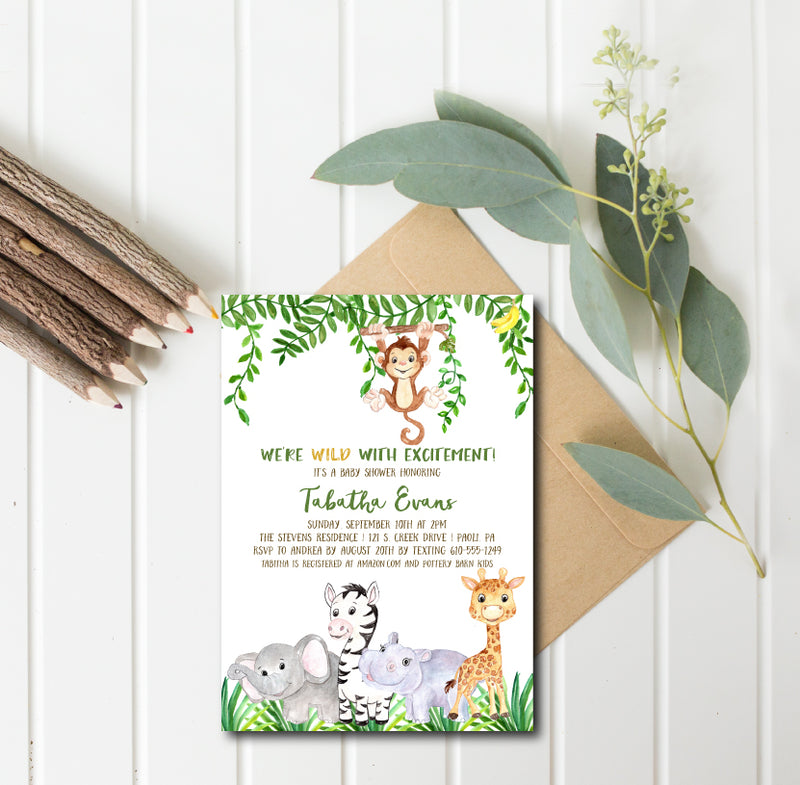 Green Safari Baby Shower Invitation