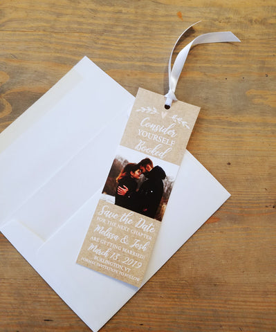 Rustic Heart Save the Date Bookmark