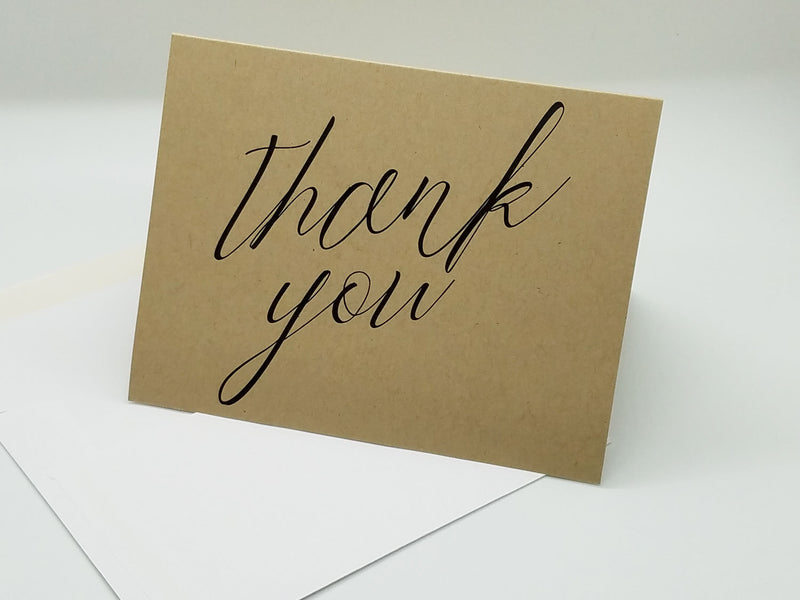 Kraft Simple Script Thank You Card