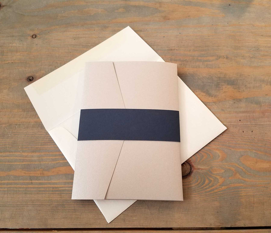 Rose Gold and Navy Blue Pocket Wedding Invitation