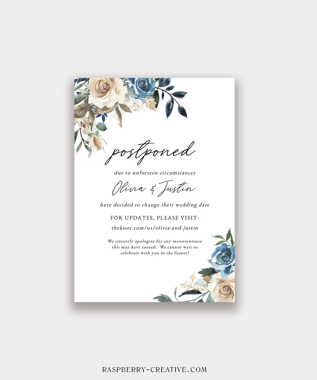 Navy and Beige Floral Change the Date Cards