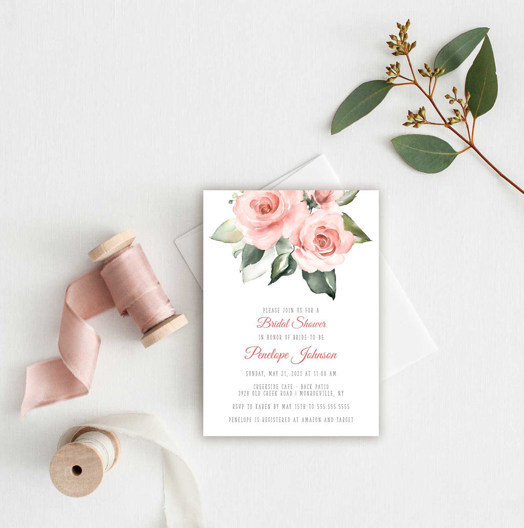 Blush Floral Bridal Shower Invitation