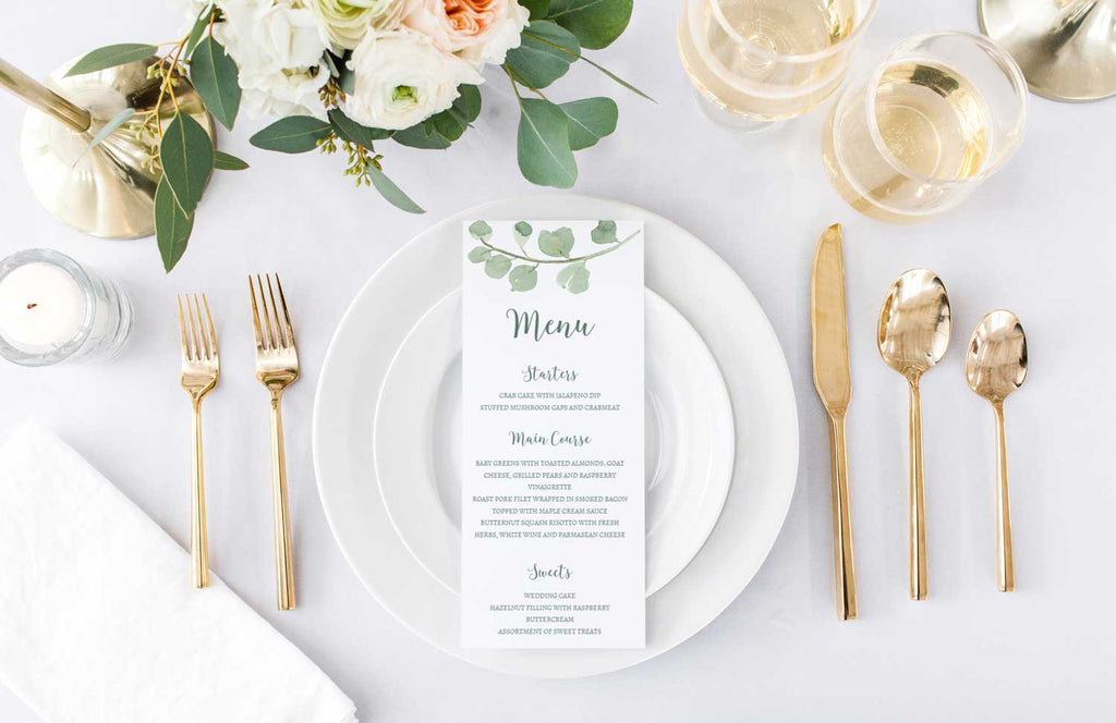 Eucalyptus Branch Wedding Menu Card