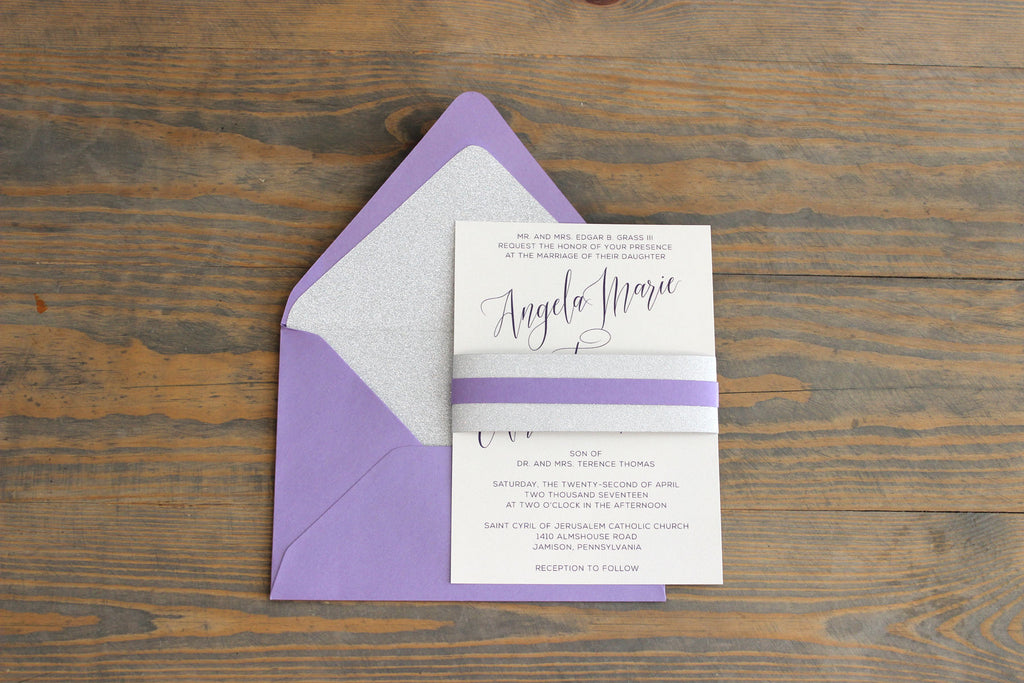 Modern Glitter Wedding Invitation