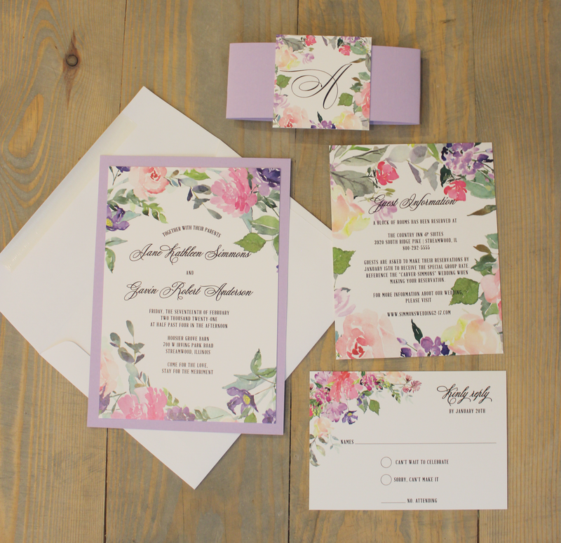 Lavender Watercolor Bouquet Wedding Invitation Set