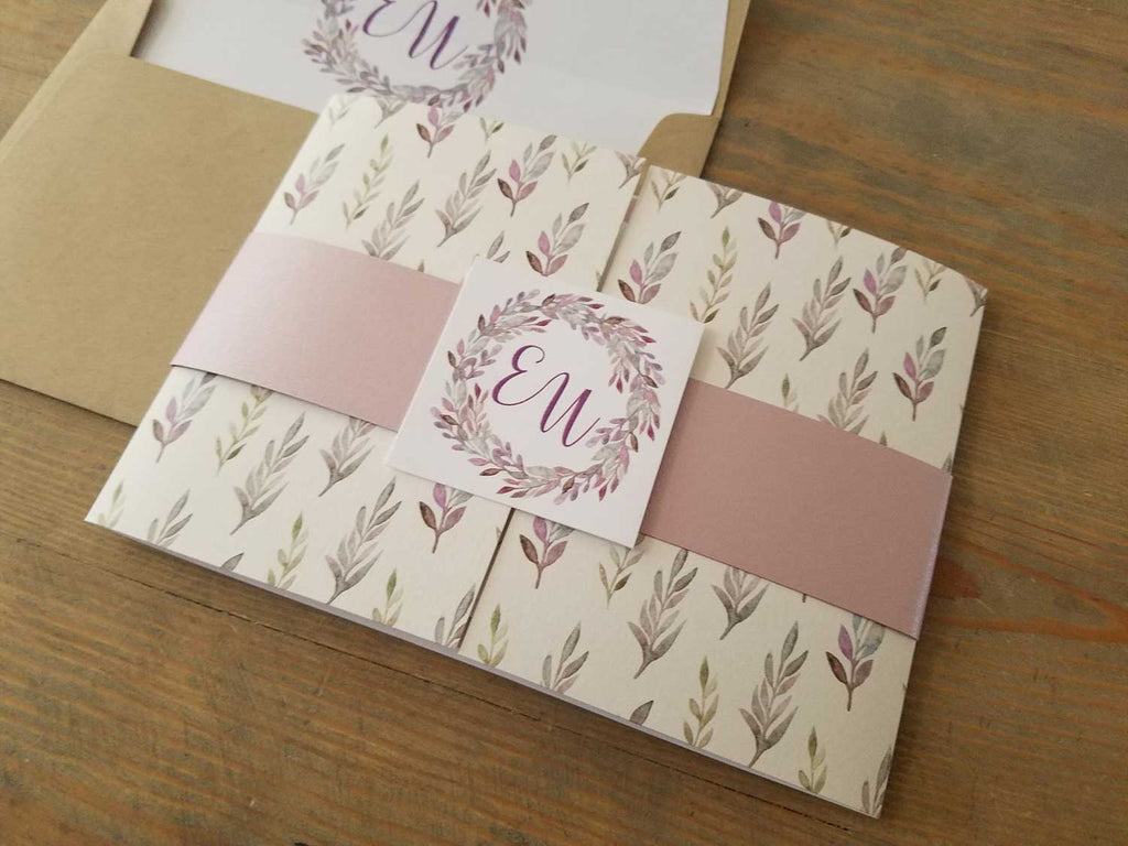 Muted Fall Custom Gate Fold Wedding Invitations in Shades of Purple