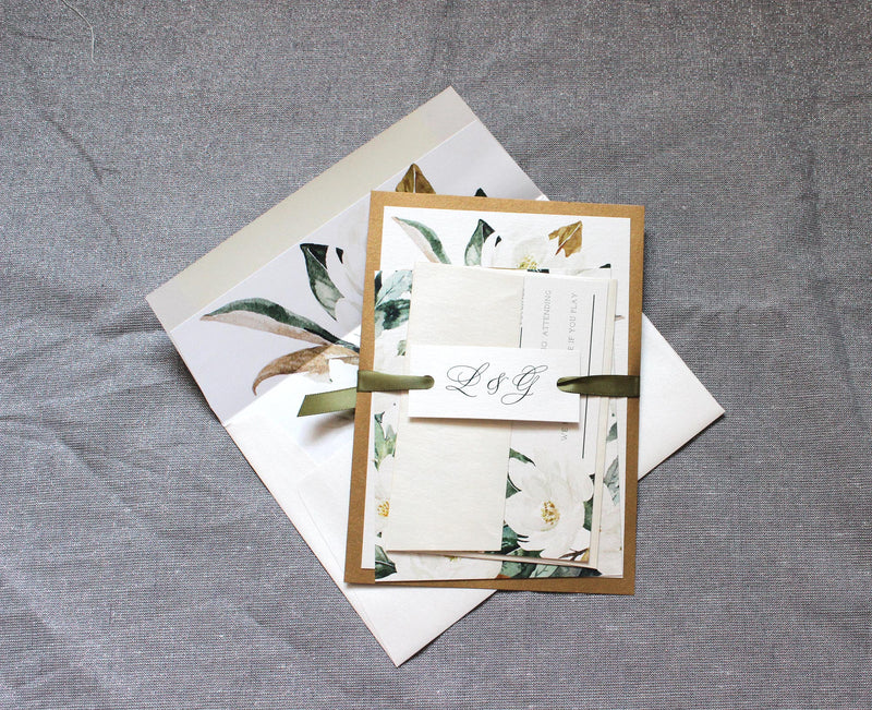 Magnolia Flower Wedding Invitation Suite in Copper and Olive Green