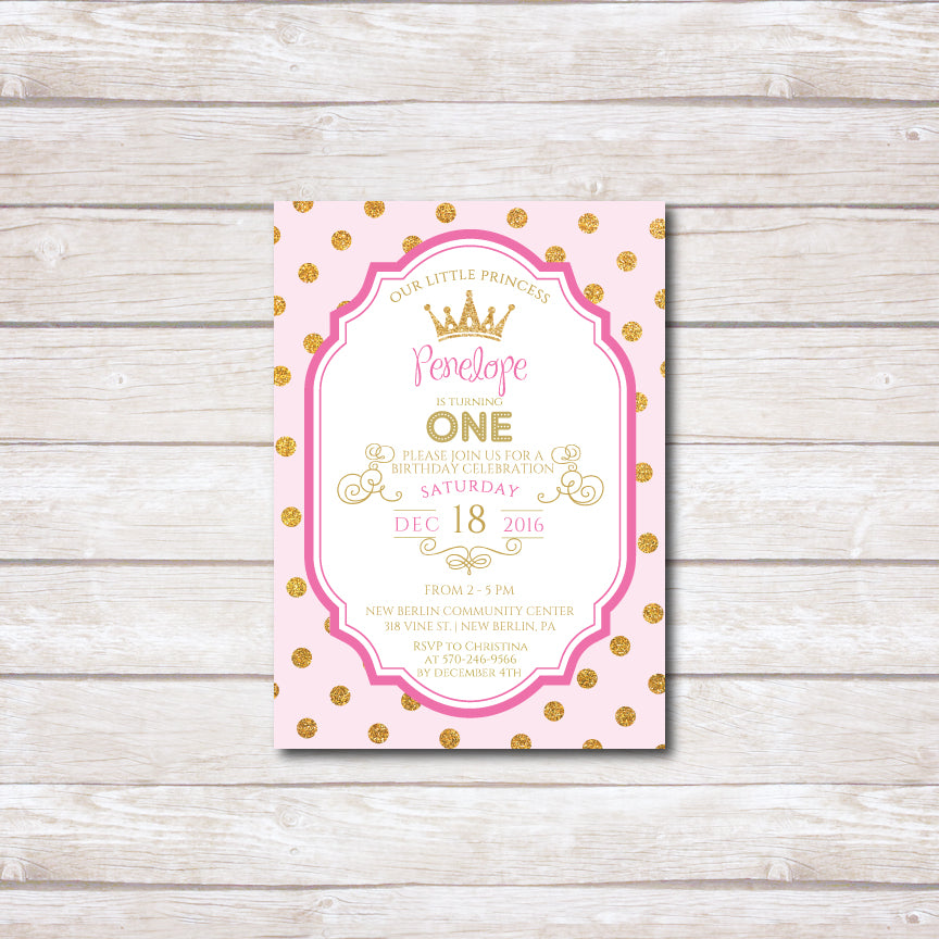 Princess Crown Birthday Party Invitation