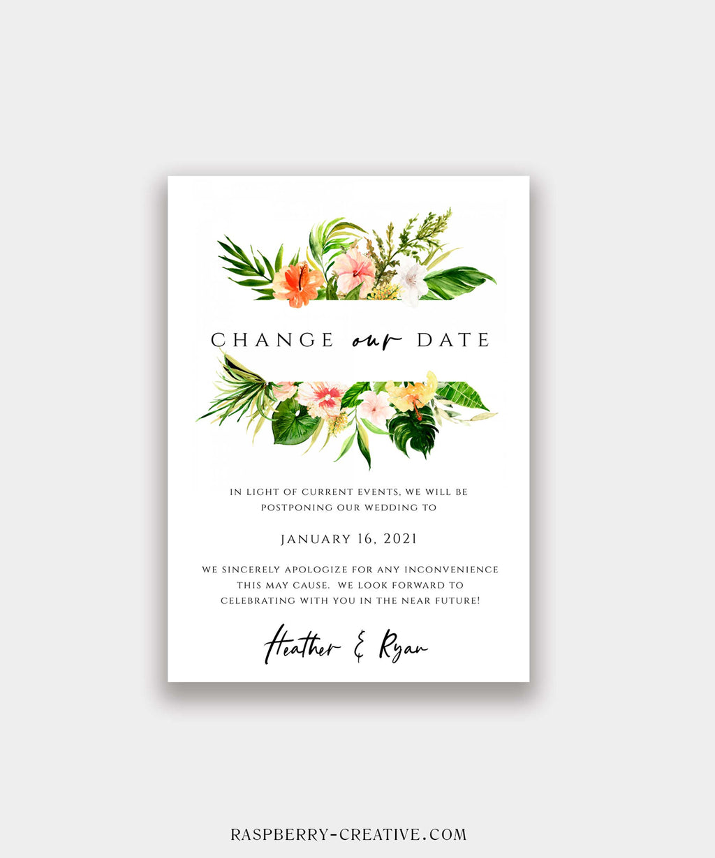 Coral Tropical Change the Date Cards