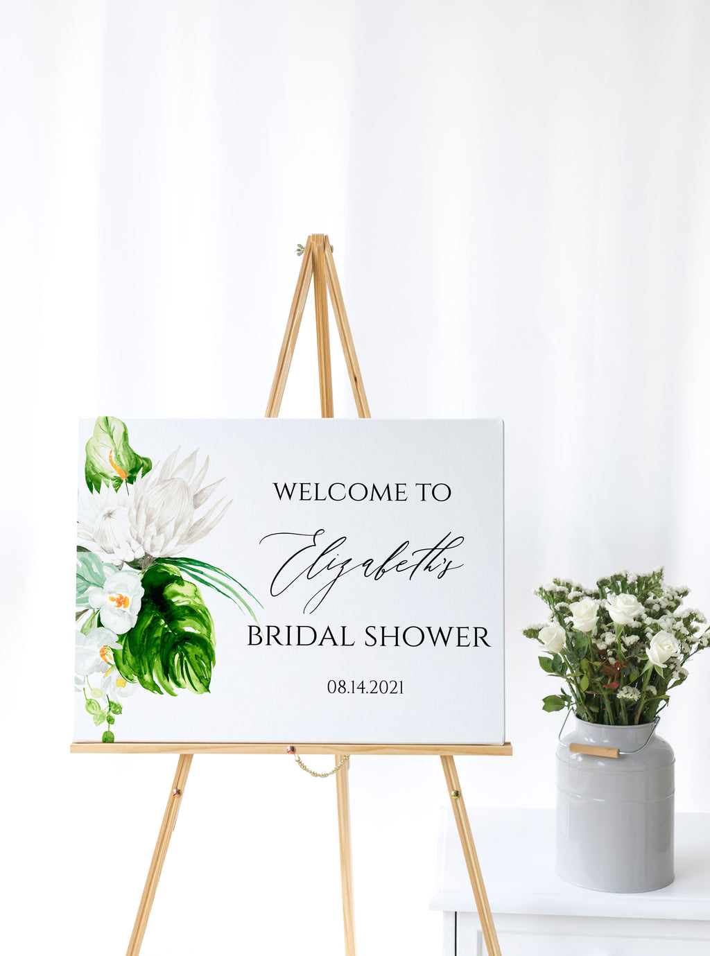 Lush Paradise Tropical Bridal Shower Welcome Sign