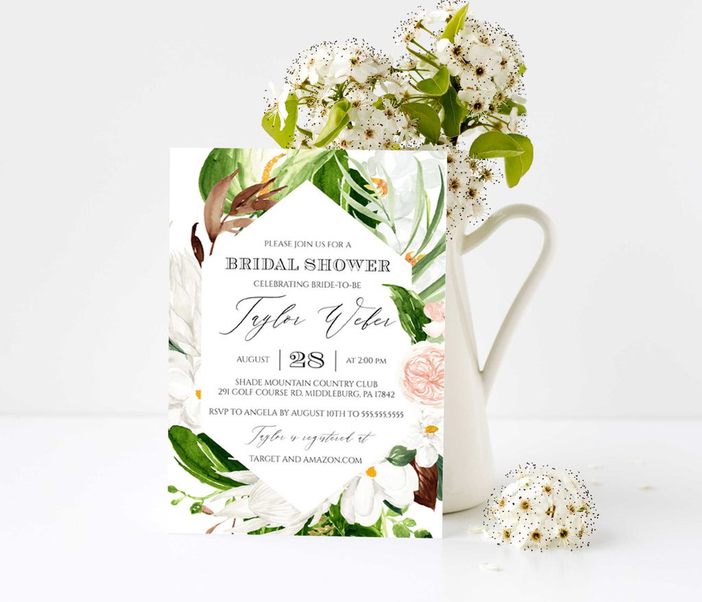 Lush Paradise Tropical Geometric Bridal Shower Invitation