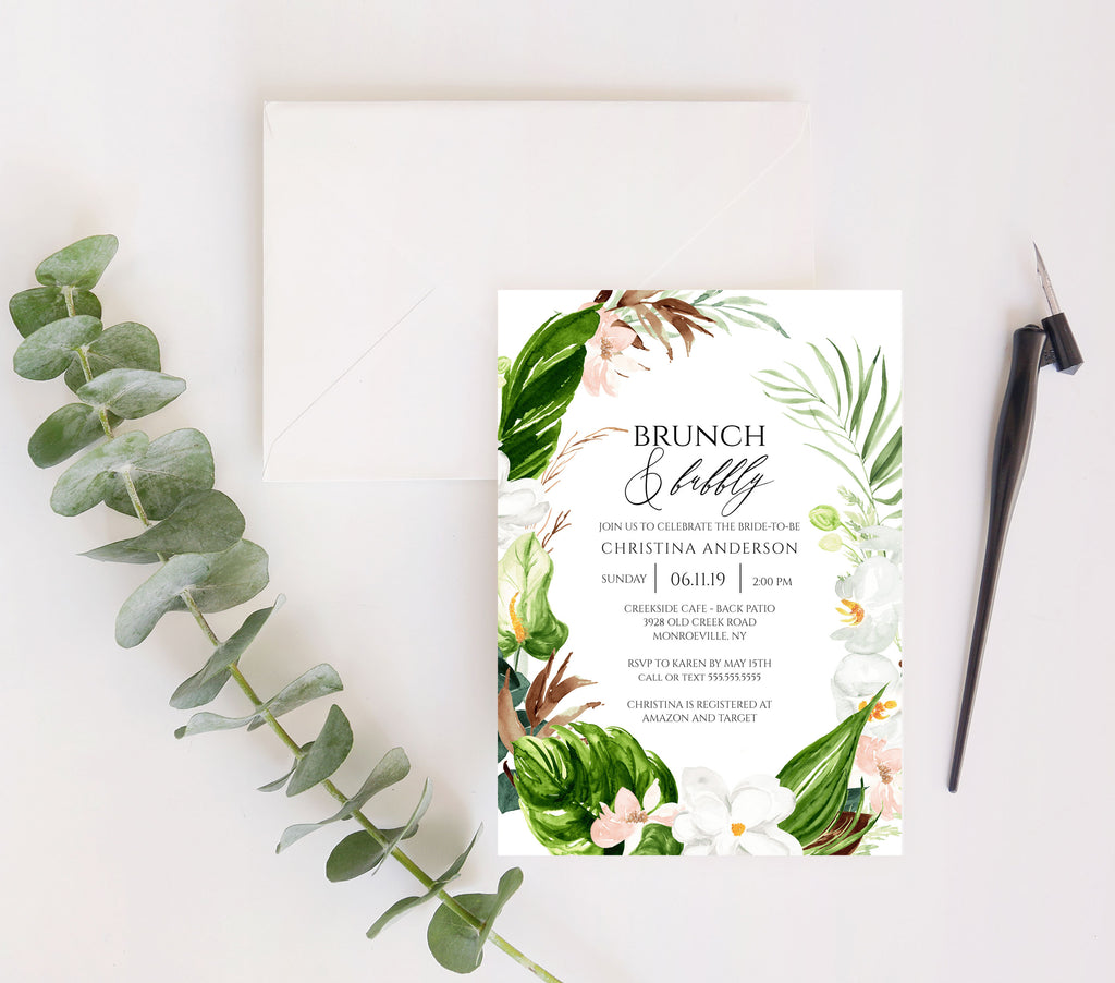 Lush Paradise Tropical Bridal Shower Invitation