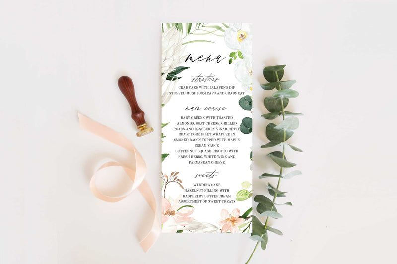 Lush Tropical Paradise Wedding Menu Card