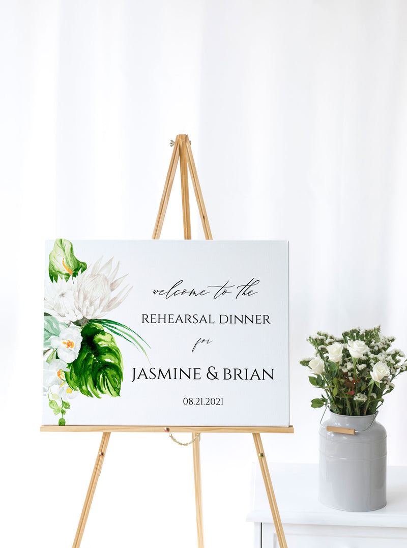 Lush Tropical Printable Wedding Rehearsal Welcome Sign