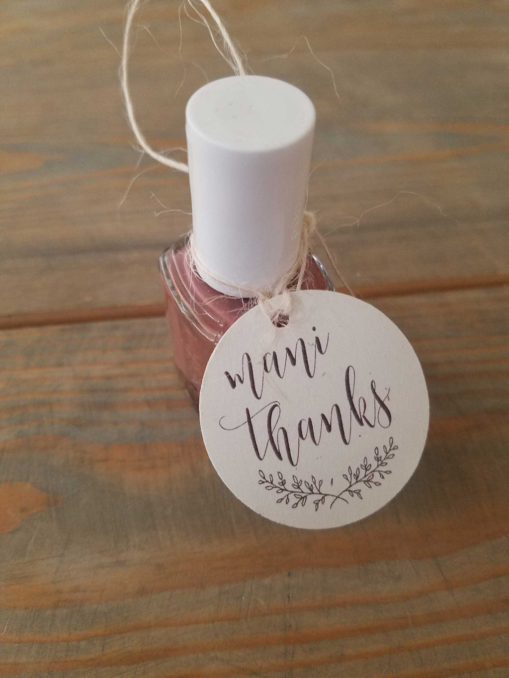 Mani Thanks Favor Tag - Rustic Elegance
