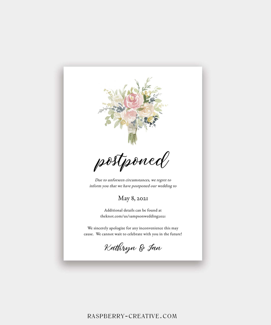 Bridal Bouquet Change the Date Cards