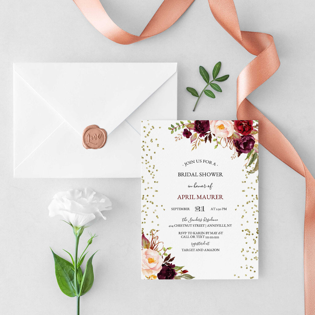 Marsala Burgundy Blush and Gold Glitter Bridal Shower Invitation