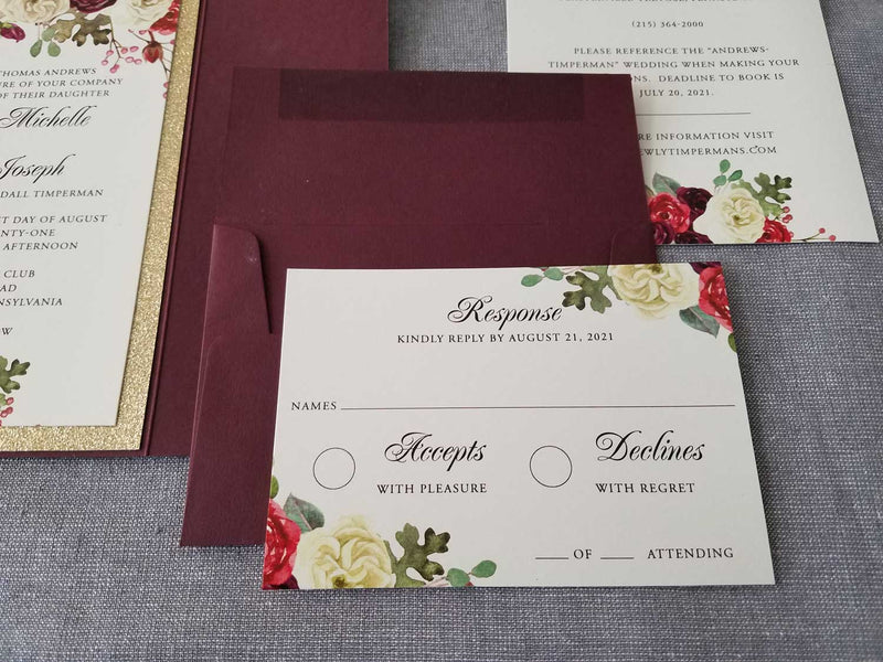 Marsala and Gold Wedding Invitation