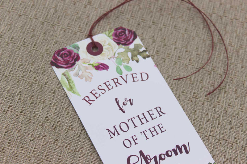 Marsala Reserved Seating Tags