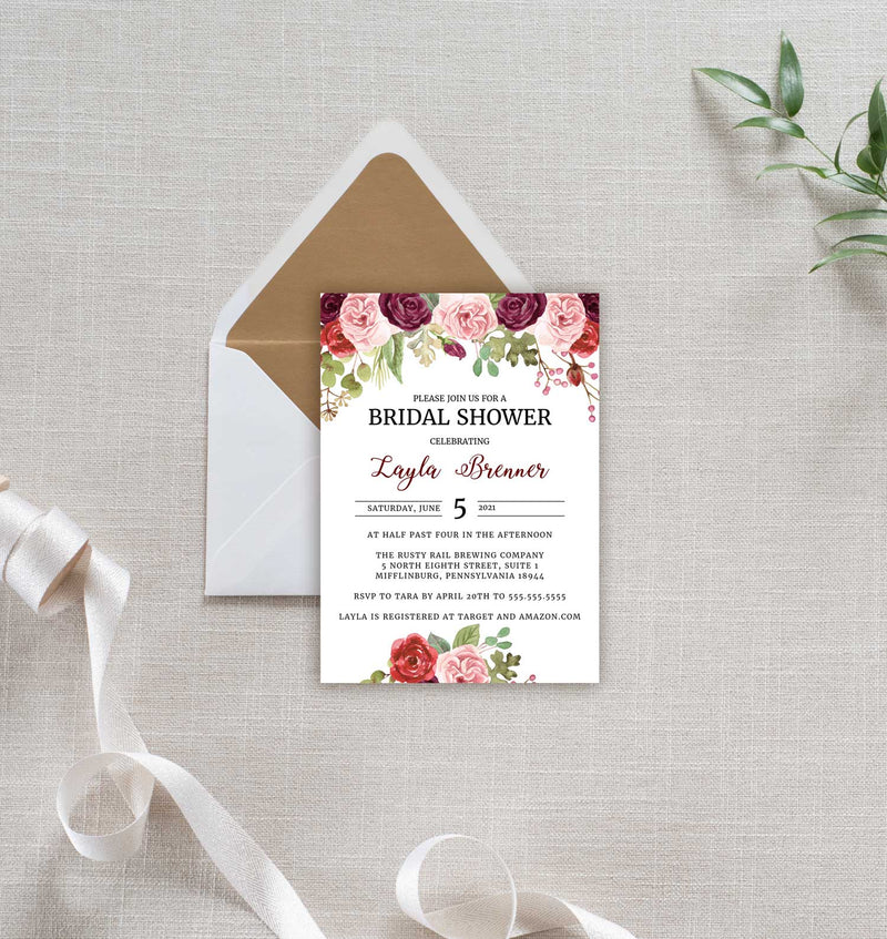 Burgundy Blush Watercolor Bridal Shower Invitation