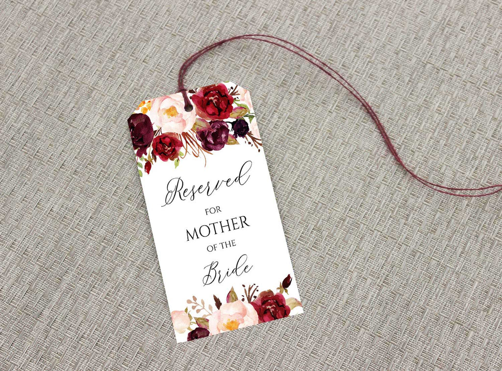 Marsala and Blush Reserved Seating Tags