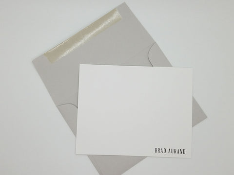 Minimal Masculine Personal Note Card Set
