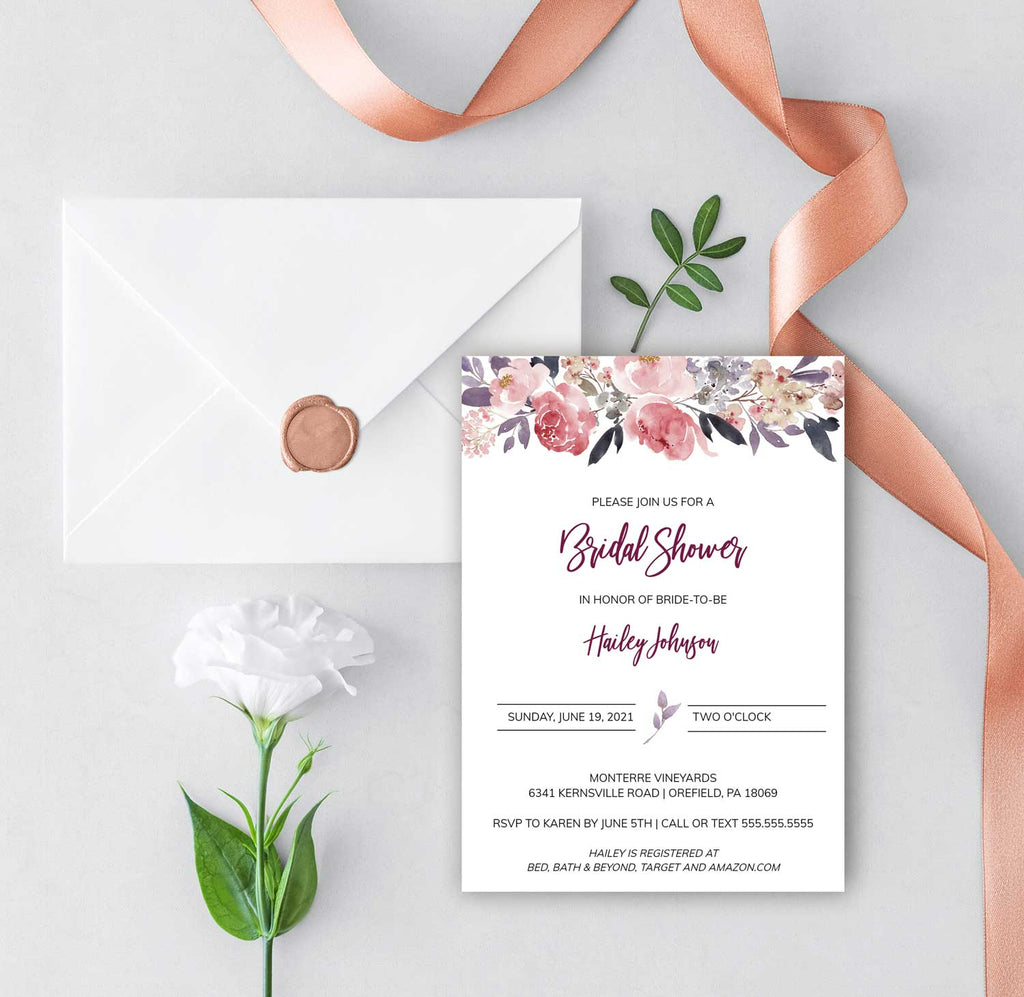 Dusty Rose Floral Bridal Shower Invitation