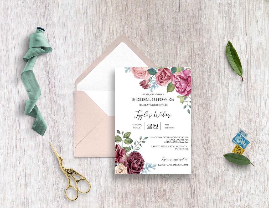 Mauve Roses Bridal Shower Invitation