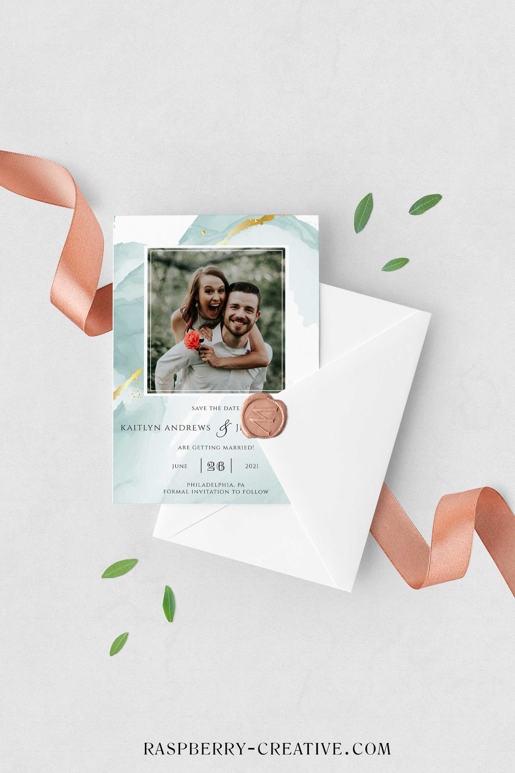 Mint and Gold Marble Watercolor Photo Save the Date Card