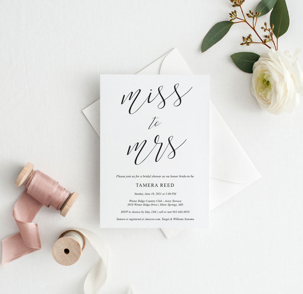 Miss to Mrs Simple Script Bridal Shower Invitation