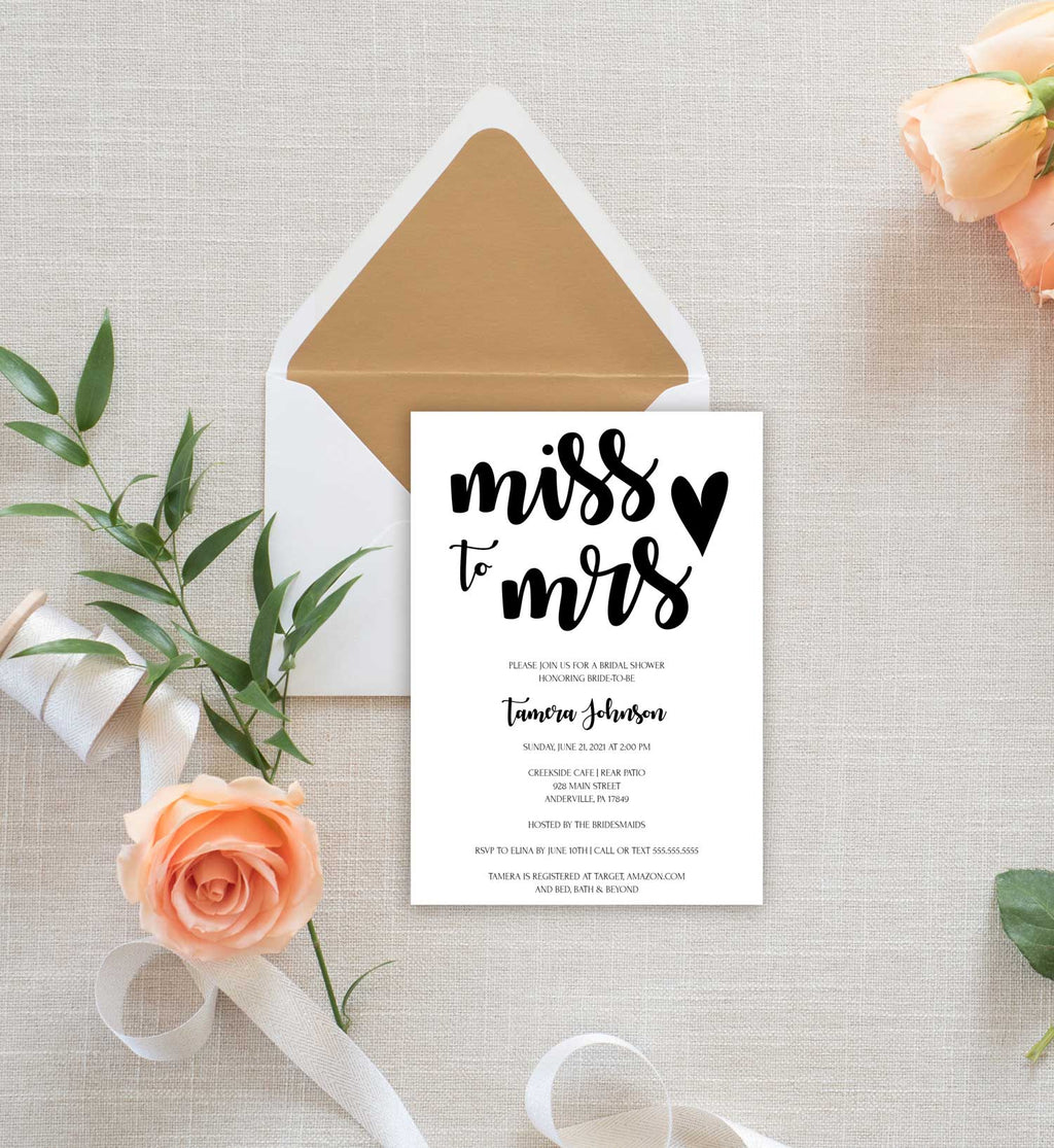 Simple Heart Miss to Mrs Bridal Shower Invitation