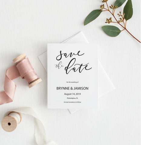 Modern Calligraphy Minimalist Save the Date Card