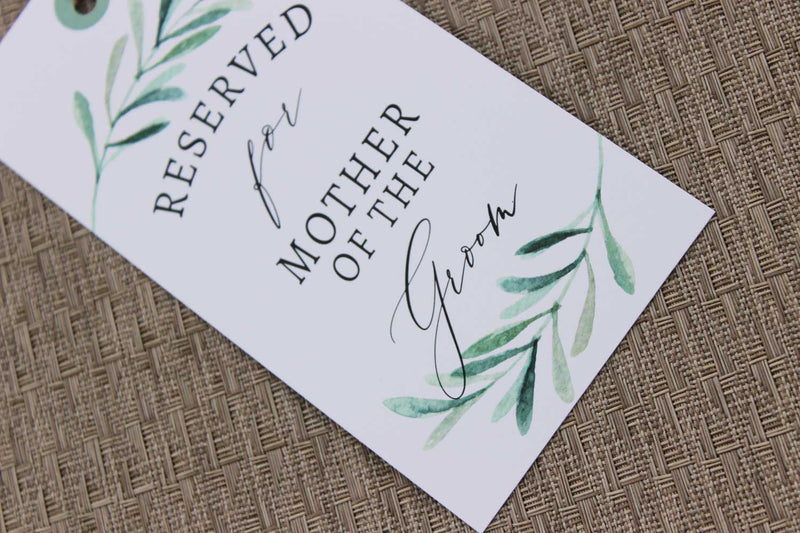 Modern Greenery Reserved Seating Tags