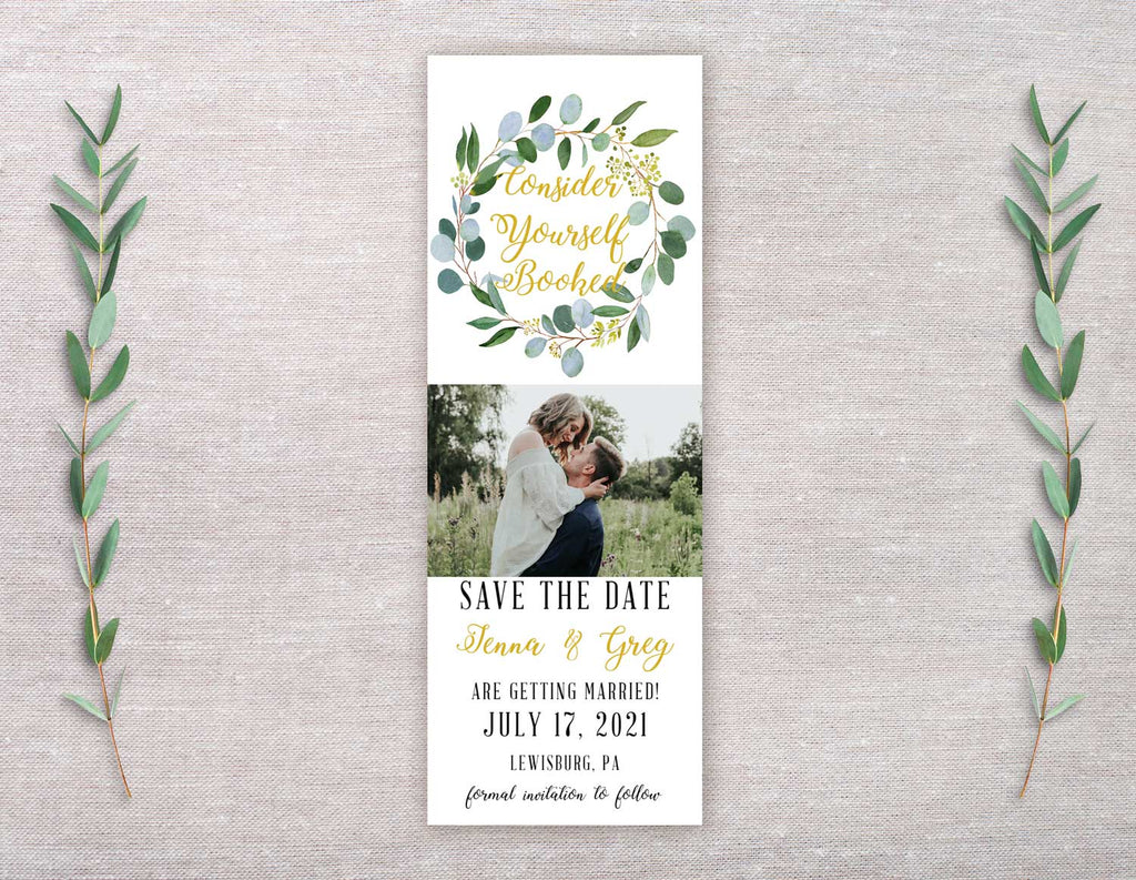 Greenery and Gold Wreath Save the Date Bookmark